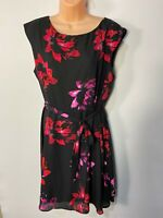 WOMENS WALLIS UK 18 BLACK/RED MIX FLORAL SLEEVELESS OCCASION FIT & FLARE DRESS