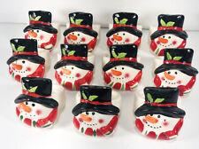 Set of 11 Ceramic Christmas Snowman Napkin Rings Holders Dinner Table Setting