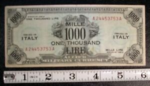1943 A Italy Allied Military Currency 1000 LIRE banknote P-M23a GRAFFITI #6453