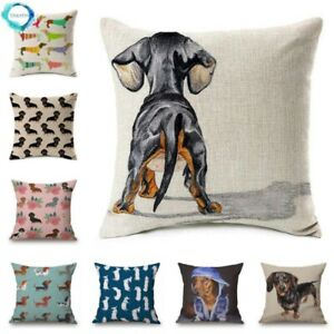 Dachshund Gifts Dog Cushion Covers Sausage Dog Painting Cotton Linen Decorative