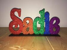 Personalised name With Stand BLINGED Glitter Gift Any Name