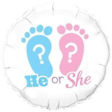 "He or She Gender Reveal Baby Shower 18"" Qualatex Foil Balloon"