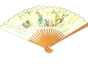 Vintage Japanese Hand Held Paper Fan With painting and script