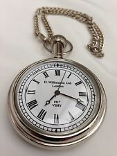 Nickel Finish Dalvey Style Hunters Pocket Watch With Black Velvet Pouch - Gift