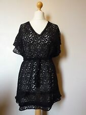 Oasis V Neck Lace Tie Waist Top Dress Size XS 6 - 8 Uk BNWT RRP £38.99 Black
