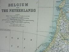1910 MAP ~ BELGIUM & THE NETHERLANDS AMSTERDAM BRABANT HOLLAND LIMBOURG