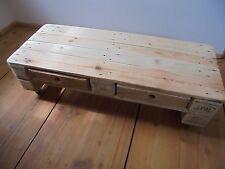 länglicher, Natur-, Holz- Couchtisch mit Schubladen und Rollen, warme Holzfarbe