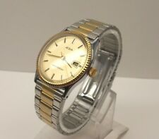 Vintage ACQUA by Timex Manual Wind Up Date Men's Watch, 2 Tone Stainless Steel