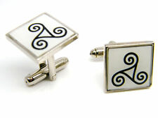 Celtic Triskele Triple Spiral of Life Cufflinks Mens Gents Badge in Gift Pouch