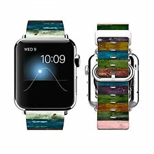 Apple Watch Band 38mm Leather + Stainless Steel Connector iWatch Band...