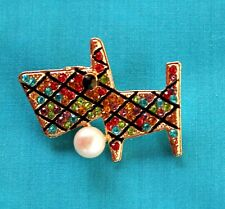 Brooch Multi Color Puppy Pup Betsey Johnson Plaid Dog Rhinestone Pin