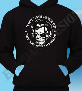 Teddy Boy Homage T-Shirt Never Die Rock And Roll Cafe Racer 50's Hoody Hoodie