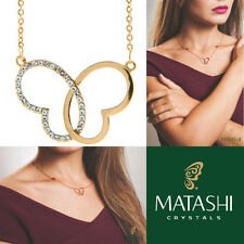"""16"""" Rose Gold Necklace w/ Intertwined Hearts Butterfly & Crystals by Matashi"""