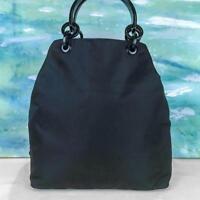 de72f550fdd  875 PRADA Black Nylon Tote Handbag Double Lucite Handles Side Logo SALE!  EUC