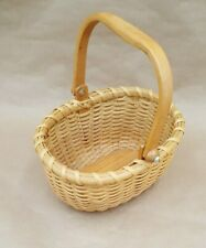 "Vintage Small Hand Woven Wicker Wood Handle Basket 7"" by 5"" Nantucket Child's Sz"