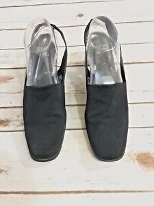 Mootsie Tootsie 10 Square Toe Sling Back Black Mofran Dress Shoe Stretch Upper