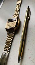Vintage PULSAR LED Time Computer Calculator 14k Gold Filled Wrist Watch & Pen
