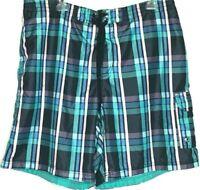 Speedo mens size XL board shorts swim trunks blue green plaid tie mesh lining