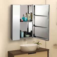 HOMCOM Stainless Steel Bathroom Double Doors Mirror Storage Cabinet 430mmW