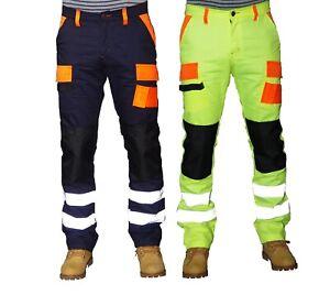 Prime Men Hi Viz Work Trousers Reflective Tape Style Work Trousers