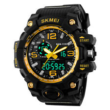 SKMEI Watch Mens Sport Digital Analog LED Shock Quartz Black Rubber Wristwatches