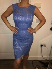 BNWT LIPSY VIP CORNFLOWER BLUE ALL LACE BODYCON MIDI LENGTH DRESS SZ 12 RRP £130