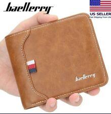 New Men's Leather Wallet trifold  ID Card Holder Purse Clutch Wallet Billfold