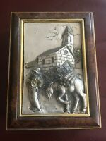 ANTIQUE CIGARETTE BOX SILVER PLATED PLACCATO  VENEER  AND GOLD WITH MAN DONKE