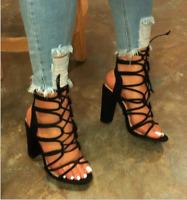 Ladies Hollow Out Pump Block High Heels Open Toe Roman Women Strappy Sandal Shoe
