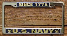US Navy License Tag Holder Frame Plate Military USA Pride Since 1775 Blue Sea