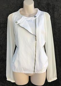 CUE Stunning White & Cream Side Zipper Detailing Pockets Jacket sz 10 (fits 12)