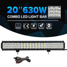 """3-ROW 20inch 630W LED Work Light Bar 8D Offroad ATV UTE Jeep 4X4WD TRUCK 22"""" 24"""""""