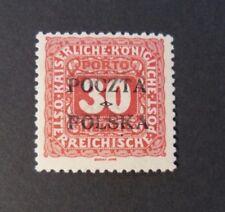 POLONIA, POLAND, POLSKA CRACOVIA 1919 Austrian OVP Segnatasse 30H. MH*  Signed