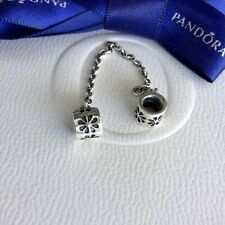 Authentic Pandora Silver Floral Flower Safety Chain Charm #790385