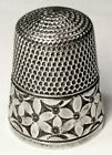 Antique Simons Bros  Sterling Silver Thimble   Abstract Flower  Design  C1920s