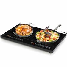 Electric Dual Induction Portable Cooker Double Burner - Black