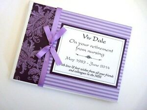Personalised purple retirement guest book, purple retirement sign in book, gift