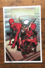Huge Spider-Man Deadpool Art Print Signed by Wil Sliney Ltd Ed W/photos
