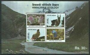 India 1996 Himalayan Ecology Birds Fauna Flower Nature Animals Minisheet MNH