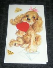 "BE MY VALENTINE Painted Puppy w Letter Heart Ribbon 3x5"" Greeting Card Art #3258"