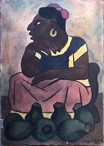 Diego Rivera, 'Tehuana Vendiendo Ollas', 1935; Early Hand Colored Print, c 1960