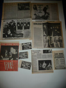 THE CRAMPS ORIGINAL UK CUTTINGS 1979 -86 W 79 MARQUEE GIG AD & REVIEW +INTERVIEW
