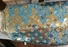 Teal Blue Gold Sequined Fabric By The Yard Formal Dress Bridal Geometric Design