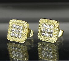 Gold Plated Hip Hop Stainless Steel Mens Earrings Square Iced 9mm Studs 14k
