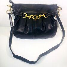 Coach Large Crossbody Black Leather Pleated 8b15 Brushed Gold hardware soft KK11