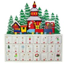 Wooden Christmas Santa Claus on a Train Advent Calendar with Hinged Doors