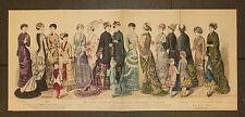 THE YOUNG LADIES JOURNAL 1879 Original 33x74cm mode fashion enfants Children