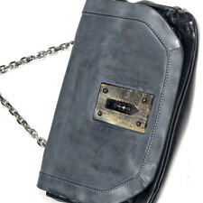 Gryson Womens Two Toned Leather Bag Purse Crossbody Black Gray Chain Strap