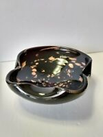 "Murano Glass -  DEEP Purple with Gold Fleck Free Style/Form Bowl 7"" x 7"" x 3"""