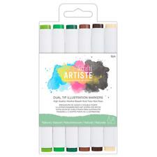 Docrafts Artiste Dual Tip Illustration Natural Markers 6pk - 851404